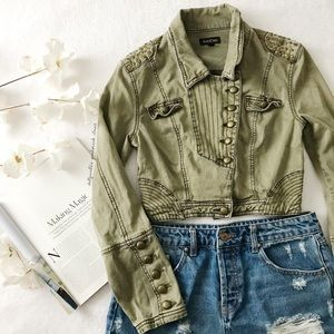 Bebe Green Studded + Cropped Military Jacket